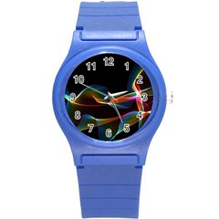 Fluted Cosmic Rafluted Cosmic Rainbow, Abstract Winds Plastic Sport Watch (small) by DianeClancy