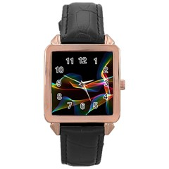 Fluted Cosmic Rafluted Cosmic Rainbow, Abstract Winds Rose Gold Leather Watch  by DianeClancy