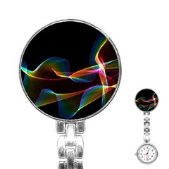 Fluted Cosmic Rafluted Cosmic Rainbow, Abstract Winds Stainless Steel Nurses Watch by DianeClancy