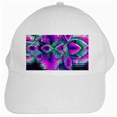 Teal Violet Crystal Palace, Abstract Cosmic Heart White Baseball Cap by DianeClancy