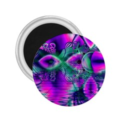Teal Violet Crystal Palace, Abstract Cosmic Heart 2 25  Button Magnet by DianeClancy