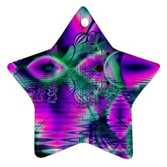 Teal Violet Crystal Palace, Abstract Cosmic Heart Star Ornament by DianeClancy