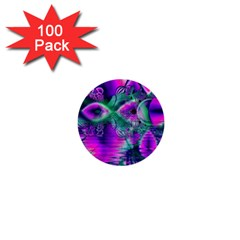 Teal Violet Crystal Palace, Abstract Cosmic Heart 1  Mini Button (100 Pack) by DianeClancy