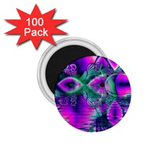 Teal Violet Crystal Palace, Abstract Cosmic Heart 1 75  Button Magnet (100 Pack) by DianeClancy