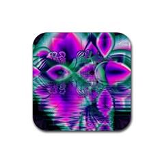 Teal Violet Crystal Palace, Abstract Cosmic Heart Drink Coasters 4 Pack (square) by DianeClancy
