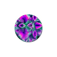 Teal Violet Crystal Palace, Abstract Cosmic Heart Golf Ball Marker by DianeClancy