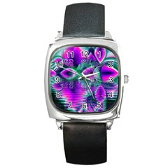 Teal Violet Crystal Palace, Abstract Cosmic Heart Square Leather Watch by DianeClancy