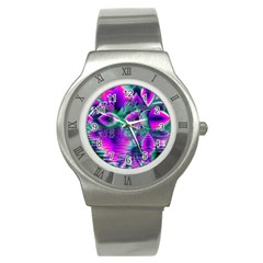 Teal Violet Crystal Palace, Abstract Cosmic Heart Stainless Steel Watch (slim) by DianeClancy