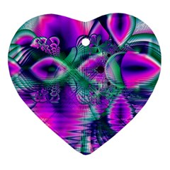 Teal Violet Crystal Palace, Abstract Cosmic Heart Heart Ornament (two Sides) by DianeClancy