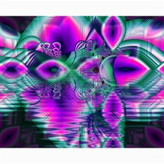 Teal Violet Crystal Palace, Abstract Cosmic Heart Canvas 8  X 10  (unframed) by DianeClancy