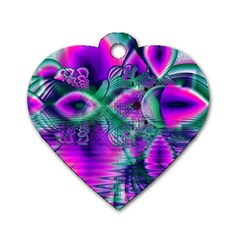 Teal Violet Crystal Palace, Abstract Cosmic Heart Dog Tag Heart (two Sided) by DianeClancy