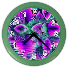 Teal Violet Crystal Palace, Abstract Cosmic Heart Wall Clock (color) by DianeClancy