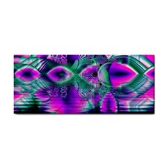 Teal Violet Crystal Palace, Abstract Cosmic Heart Hand Towel by DianeClancy