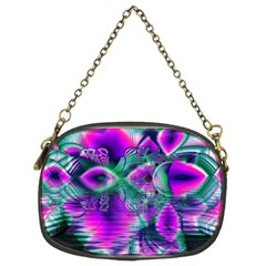 Teal Violet Crystal Palace, Abstract Cosmic Heart Chain Purse (two Sided)  by DianeClancy