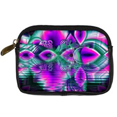 Teal Violet Crystal Palace, Abstract Cosmic Heart Digital Camera Leather Case by DianeClancy