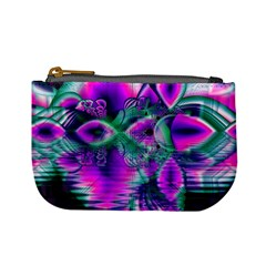 Teal Violet Crystal Palace, Abstract Cosmic Heart Coin Change Purse
