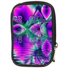 Teal Violet Crystal Palace, Abstract Cosmic Heart Compact Camera Leather Case by DianeClancy