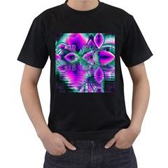 Teal Violet Crystal Palace, Abstract Cosmic Heart Men s T Shirt (black) by DianeClancy