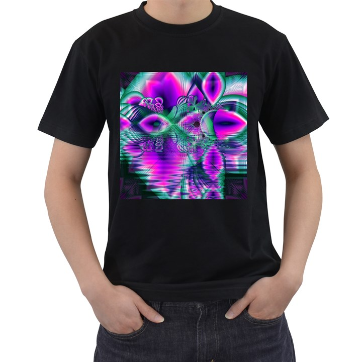 Teal Violet Crystal Palace, Abstract Cosmic Heart Men s T-shirt (Black)
