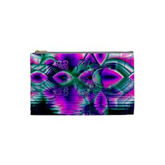 Teal Violet Crystal Palace, Abstract Cosmic Heart Cosmetic Bag (small) by DianeClancy