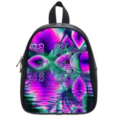 Teal Violet Crystal Palace, Abstract Cosmic Heart School Bag (small) by DianeClancy