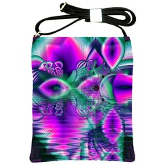 Teal Violet Crystal Palace, Abstract Cosmic Heart Shoulder Sling Bag by DianeClancy