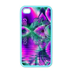 Teal Violet Crystal Palace, Abstract Cosmic Heart Apple Iphone 4 Case (color) by DianeClancy
