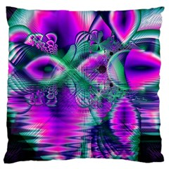 Teal Violet Crystal Palace, Abstract Cosmic Heart Large Cushion Case (single Sided)  by DianeClancy