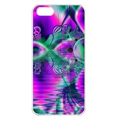 Teal Violet Crystal Palace, Abstract Cosmic Heart Apple Iphone 5 Seamless Case (white) by DianeClancy