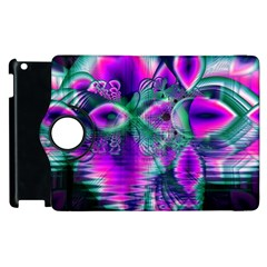 Teal Violet Crystal Palace, Abstract Cosmic Heart Apple Ipad 2 Flip 360 Case by DianeClancy