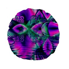 Teal Violet Crystal Palace, Abstract Cosmic Heart 15  Premium Round Cushion  by DianeClancy