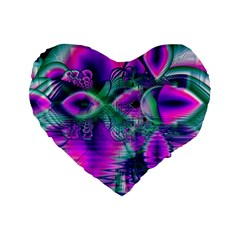 Teal Violet Crystal Palace, Abstract Cosmic Heart 16  Premium Heart Shape Cushion  by DianeClancy