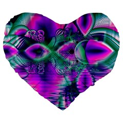Teal Violet Crystal Palace, Abstract Cosmic Heart 19  Premium Heart Shape Cushion by DianeClancy