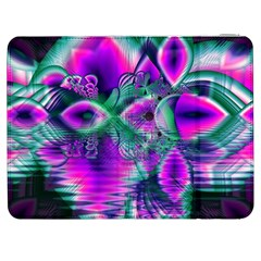 Teal Violet Crystal Palace, Abstract Cosmic Heart Samsung Galaxy Tab 7  P1000 Flip Case by DianeClancy