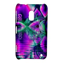 Teal Violet Crystal Palace, Abstract Cosmic Heart Nokia Lumia 620 Hardshell Case by DianeClancy