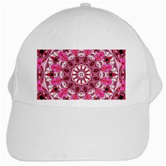 Twirling Pink, Abstract Candy Lace Jewels Mandala  White Baseball Cap by DianeClancy
