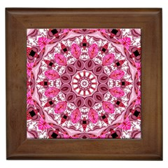 Twirling Pink, Abstract Candy Lace Jewels Mandala  Framed Ceramic Tile by DianeClancy