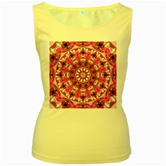 Twirling Pink, Abstract Candy Lace Jewels Mandala  Women s Tank Top (yellow)