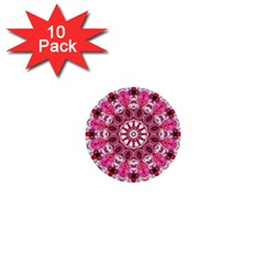 Twirling Pink, Abstract Candy Lace Jewels Mandala  1  Mini Button (10 Pack) by DianeClancy