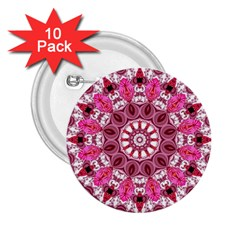 Twirling Pink, Abstract Candy Lace Jewels Mandala  2 25  Button (10 Pack)