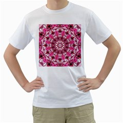 Twirling Pink, Abstract Candy Lace Jewels Mandala  Men s Two Sided T Shirt (white)