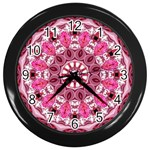 Twirling Pink, Abstract Candy Lace Jewels Mandala  Wall Clock (Black) Front