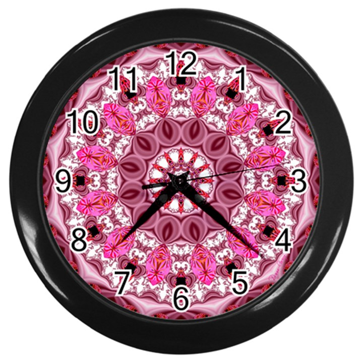 Twirling Pink, Abstract Candy Lace Jewels Mandala  Wall Clock (Black)