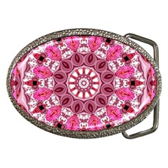 Twirling Pink, Abstract Candy Lace Jewels Mandala  Belt Buckle (oval)