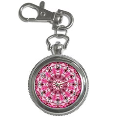 Twirling Pink, Abstract Candy Lace Jewels Mandala  Key Chain Watch by DianeClancy