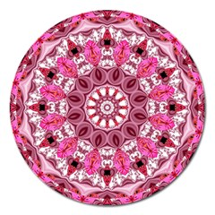 Twirling Pink, Abstract Candy Lace Jewels Mandala  Magnet 5  (round) by DianeClancy