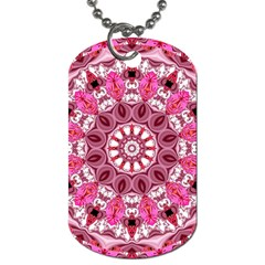 Twirling Pink, Abstract Candy Lace Jewels Mandala  Dog Tag (one Sided) by DianeClancy