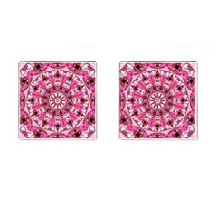 Twirling Pink, Abstract Candy Lace Jewels Mandala  Cufflinks (square) by DianeClancy