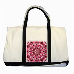 Twirling Pink, Abstract Candy Lace Jewels Mandala  Two Toned Tote Bag