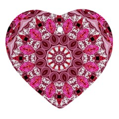 Twirling Pink, Abstract Candy Lace Jewels Mandala  Heart Ornament (two Sides) by DianeClancy